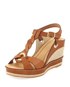 Phillie T-Strap Espadrille Wedge, Brown by Andre Assous at Neiman Marcus.