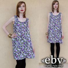 Vintage 90s Floral Mini Dress S M L 90s Grunge Dress by shopEBV, $36.00