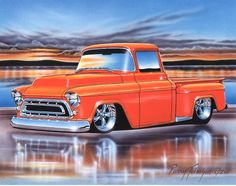 1957 Chevy 3100 Stepside Pickup Classic Truck Art Print Orange 11x14 - Parry Johnson Art