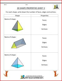 3d shapes worksheets 2 - properties of 3d shapes pyramids and triangular prism