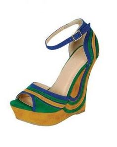 Liliana Mallika in Blue/Multi  Exquisite multi-color wedge approximately 4 inches, extremely comfortable.      Retail Price: $55.00  Shop with Nchantment.com/a/ Shoe Soiree