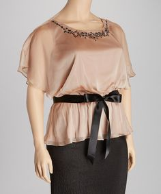 Take a look at this SL Fashions Rose Beige Embellished Top - Plus on zulily today!