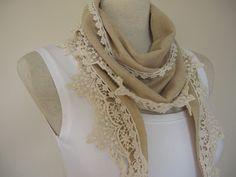 camel brown linen scarfbandanaheadband cotton lace by Scarves2012