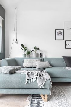 A new sofa in the house Blue Couch Living Room, Living Room Sectional, Home Living Room, Living Room Designs, Blue Sectional, Light Blue Couches, Home Entrance Decor, Home Decor, Blue Rooms