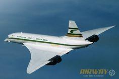 Projeção de como poderia ter ficado o Concorde da Panair (Arte sobre foto da British Airways)