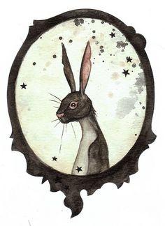 Black rabbit by Leontine  illustration / ilustración, ahora todo lo veo a modo de dibujo
