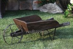 """decorative wooden wheelbarrow planter   CTM Wheelbarrow Decorative 35"""" Planter Antique Rustic Country Garden ..."""
