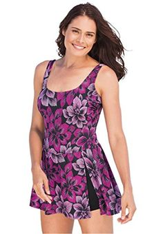 Fashion Bug Womens Plus Size Swimsuit, A-line swimdress ®  www.fashionbug.us #PlusSize #FashionBug  #Swimsuits #BathingSuits