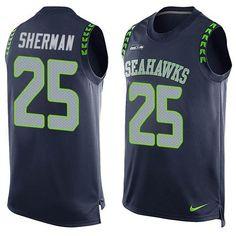 Nike Seahawks #25 Richard Sherman Steel Blue Team Color Men's Stitched NFL Limited Tank Top Jersey