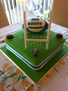 This was quite a large cake I made with a rugby theme but quite conservative. The rugby ball was cake as well. 60th Birthday Cupcakes, Sports Birthday Cakes, Sports Themed Cakes, Themed Birthday Cakes, Birthday Cake Decorating, Cake Decorating Supplies, Rugby Cake, Sport Cakes, Fancy Cakes