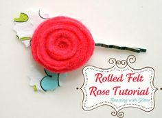 Running With Glitter: Rolled Felt Rose Tutorial
