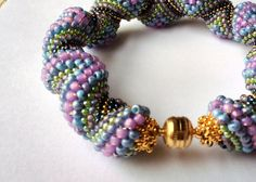 Hand Beaded Cellini Reverse Spiral bracelet with by pjlacasse