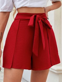 Belted Shorts, Look, High Waisted Skirt, Short Dresses, Trousers, Mini Skirts, Fashion Outfits, Clothes, Boxers