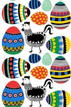 Rai Rai, design Maija Louekari for Marimekko Colourful chickens with coordinating? Easter eggs appliqué for quilt Motifs Textiles, Textile Patterns, Textile Prints, Textile Design, Fabric Design, Pattern Design, Print Patterns, Print Design, Marimekko Fabric