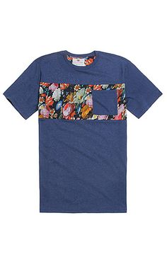 On The Byas Jeffrey Pieced Floral T-Shirt - Mens Tee - Blue - $19.95