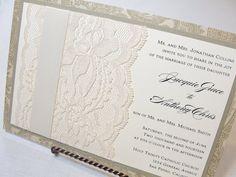 Items similar to SOPHIA Real Lace Wedding Invitations on Etsy