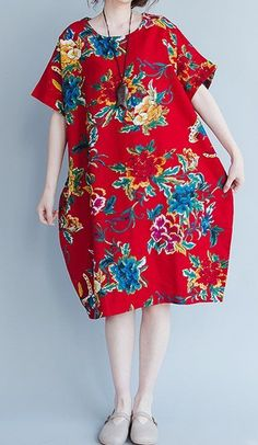 New women loose fit plus over size ethnic flower pocket dress robe maxi tunic #unbranded #Maxi #Casual