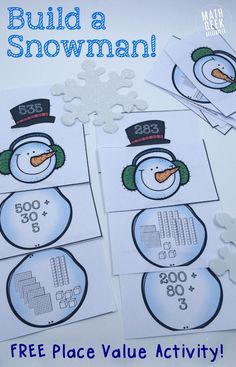 Free Build a Snowman Place Value Activity from Math Geek Mama