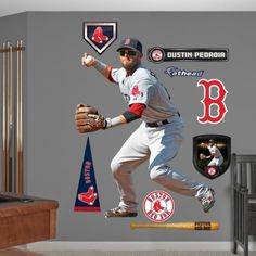Boston Red Sox Dustin Pedroia - Second Baseman Wall Decal Sticker Wall Decal at AllPosters.com