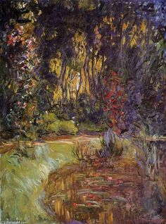 Water-Lily Pond at Giverny Painting by Claude Monet. Detail of painting available on http://en.wahooart.com/A55A04/w.nsf/OPRA/BRUE-8EWEQU