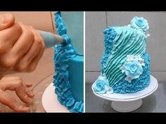 Buttercream Cake Decorating Idea * Pastel con volantes by CakesStepbyStep Buttercream Ruffle Cake, Buttercream Cake Decorating, Cake Icing, Cupcake Cakes, Eat Cake, Cake Decorating For Beginners, Easy Cake Decorating, Cake Decorating Techniques, Cake Decorating Tutorials