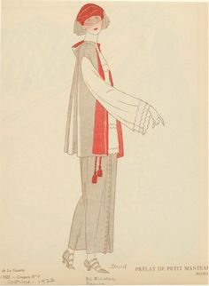 Gray And Red Outfit With Veil, France, Ca. 1922