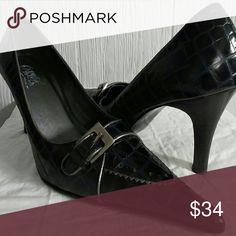 "CARLOS SANTANA Pointed Toe Heels CARLOS SANTANA Black Croc-Embossed ""Panache"" Heels with faux buckle Carlos Santana Shoes Heels"