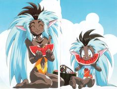 Tenchiforum — Cooling off with some nice watermelon! Manga Art, Manga Anime, Anime Art, Good Anime Series, Dope Cartoon Art, Fantasy Art Women, Irish Art, Old Anime, Anime Animals