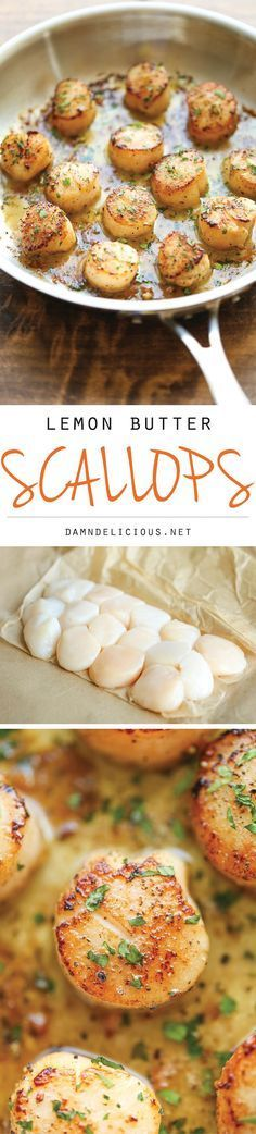 Lemon Butter Scallops - All you need is 5 ingredients and 10 minutes for the most amazing, buttery scallops ever.