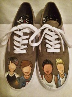 My new 5sos shoes. These are hand painted shoes with all four 5 Seconds of Summer members >>> 70$ >>> etsy.com