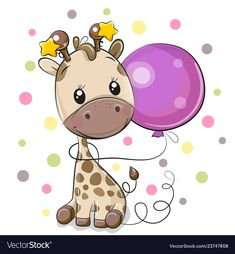 Cute Cartoon Giraffe with Balloon. Greeting card Cute Cartoon Giraffe with purple balloon stock illustration Baby Shower Greetings, Baby Shower Greeting Cards, Giraffe Drawing, Giraffe Art, Cartoon Giraffe, Cute Cartoon Girl, Kids Cartoon Characters, Cartoon Kids, Beautiful Good Night Images