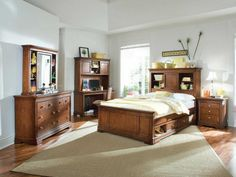 [Bedroom] : Amazing Multifunction Teak Wood Headboard Bed Design Model With Elegant Wood Bed Frame On Combined Chest Of Drawers And Antique Pine Wood Nigtstand Table Also Comfortable Reading Space With Leather Swivel Chair