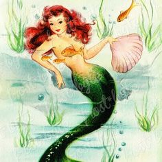 Vintage Redhead, Vintage Cat, Vintage Images, Watercolor Images, Watercolor Illustration, Digital Illustration, Mermaid Images, Vintage Mermaid, Baby Mermaid