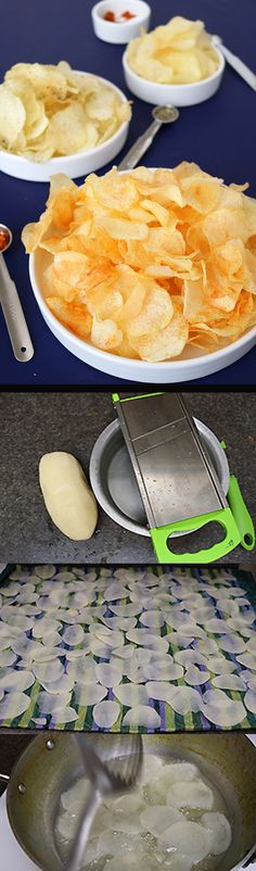 Potato Chips is a favorite snack of all. Learn to make a big batch of potato chips easily at home with your favorite flavorings. Indian Snacks, Indian Food Recipes, Ethnic Recipes, Unique Recipes, Cooking Recipes, Vegan Recipes, Fast Recipes, Cooking Ideas, Potato Recipes