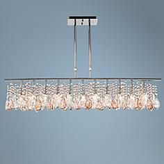 """Luminous 48"""" Wide Clear and Pink Crystal Chandelier"""