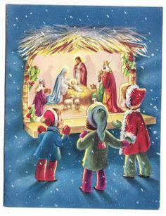 Vintage Children Looking Thru Window at Manger Scene Christmas Greeting Card
