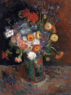 "Vincent van Gogh ""Bowl with Zinnias and Geraniums"" / Summer 1886, Paris/ Oil on casnvas, 61 x 46 cm/ National Gallery of Canada, Ottawa"