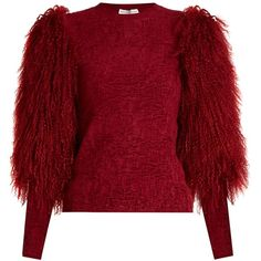 Sonia Rykiel Fur-sleeve crew-neck sweater ($1,532) ❤ liked on Polyvore featuring tops, sweaters, red crew neck sweater, textured sweater, fur sleeve sweater, crewneck sweaters and crew neck sweaters