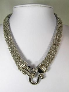 $29.99 Designer Look Mesh CZ Necklace high-quality rhodium-plated bold chunky statement piece.