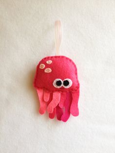 Felt Holiday Ornament  Patricia the Pink jellyfish by RedMarionette on Etsy