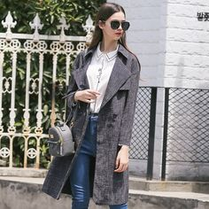 LESIES Spring Autumn Women Long Coat Plaid Trench Coat With Belt For Women Fashion Coat Chaquetas Mujer British Style LS167401