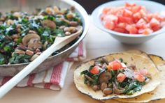 Mushroom, Chard and Caramelized Onion Tacos // Vegan tacos don't get much tastier than this! Make a large batch, and then save the leftovers in the fridge for a lunch or dinner on a later date.