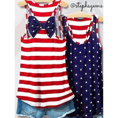 "Back in Stock! Patriotic Stars & Stripes Bow Top! This awesome American Flag tank top has white stars on the front, red and white stripes on the back, finished with an adorable bow back detail in the blue/white stars pattern. Perfect for 4th of July or all summer long! Front is semi-sheer; you may want a white cami beneath. Made in USA. Rayon/spandex. Available in S, M, L. Bust: S-32"", M-34"", L-36"". Length on all is 28 1/2"". See additional listing for PLUS sizes (1x, 2x, 3x) too! Tops Tank…"