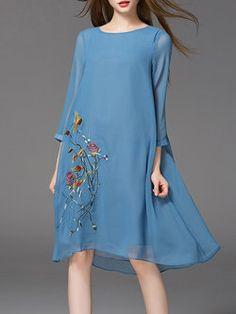 Blue Elegant Silk Crew Neck Embroidery Midi Dress