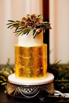 Modern gold-leaf wedding cake