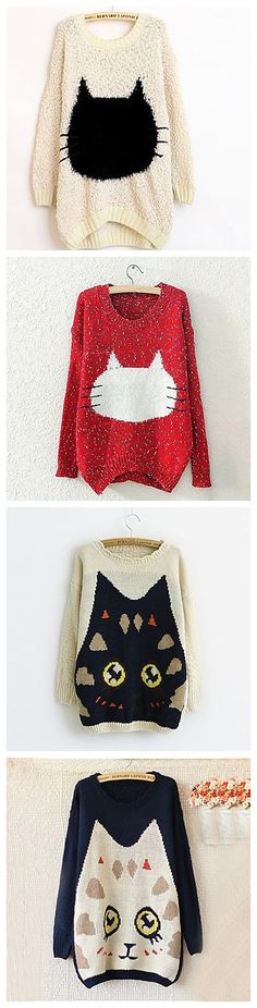 Lovely sweatshirts with cats. Any cat lovers here? Check them out!