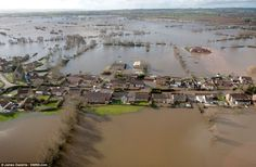 Evacuated: Aerial view of the flooded village of Moorland which was evacuated last night w...