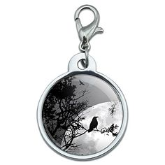 Chrome Plated Metal Small Pet ID Dog Cat Tag Birds Owls Raptors  Raven at Night  Black Bird Full Moon *** Visit the image link more details.(This is an Amazon affiliate link and I receive a commission for the sales)