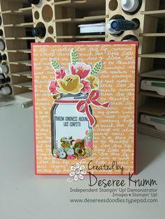 shaker card, stampin up, everyday jars framelits, jar of love