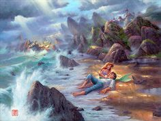 wonderground gallery glicee | The Little Mermaid Ariel First Meets Prince Eric Disney Artwork ...